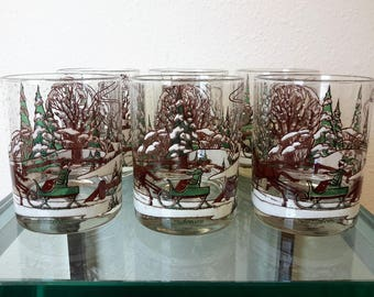 Vintage Culver Glasses Holiday Barware Double Old Fashioned Set of 6 Horse and Open Sleigh Winter Wonderland Christmas New Year