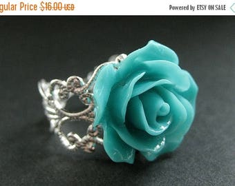 SUMMER SALE Turquoise Rose Ring. Teal Flower Ring. Filigree Ring. Adjustable Ring. Flower Jewelry. Handmade Jewelry.