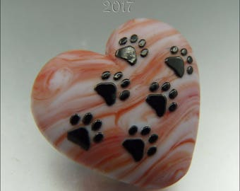 PAWS ACROSS My HEART – Coral & White! – Sandblasted Lampwork Heart Focal Bead - by Stephanie Gough sra fhfteam leteam