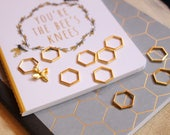 Beekeepers Stitch Markers for Knitting - Gold Hexagon Closed Ring Markers - Knitting Notions
