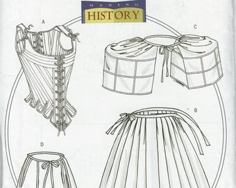 UNCUT Misses' 18th Century Historical Underpinnings Costume Pattern Butterick B4484