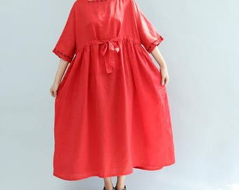 women summer wear loose maxi dress Cotton and linen red long dress