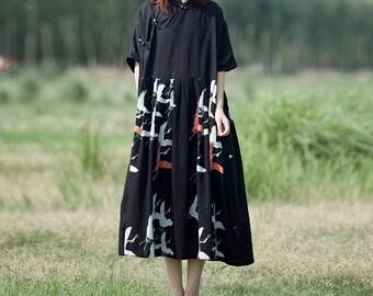 Black/ red  Loose Oversize Dress/ Summer Cotton and linen large size Dresses