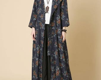 women Hooded long dress Loose fitting Women autumn Clothing long coat windbreaker