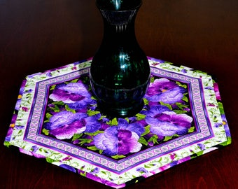 Table Topper - Candle Mat - Purple Pansy Table Mat - Candle Mat