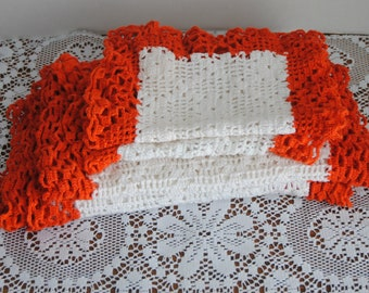 Vintage Crochet Doily Set of 4 White With Orange Border