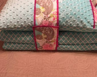 Kindermat / Nap Mat Cover in  Minty Blue/Pink/Paisley