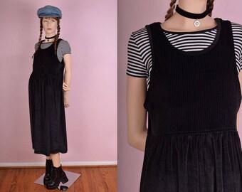 80s Black Ribbed Velvet Jumper Dress/ Medium/ 1980s/ Tank/ Sleeveless
