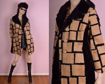 60s 70s Patterned Faux Fur Trim Coat/ Medium/ 1960s/ 1970s/ Jacket