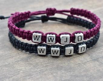 Set of WWJD Hemp Bracelets, Black and Purple Bracelets, Couples Bracelets, Best Friends Gift, Adjustable Bracelets, WWJD Gift