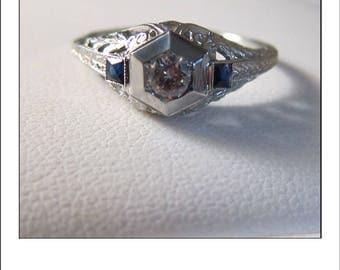 Antique Art deco 18k Diamond  Sapphire Filigree Engagement Ring