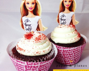 Printable Barbie Cupcake Wrappers and Toppers