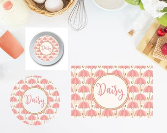 Umbrellas Plate/Bowl/Placemat . Personalized Plate/Bowl/Placemat . Girls Plate/Bowl/Placemat . Pink Plate/Bowl/Placemat . Custom Plate