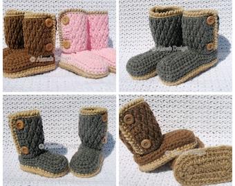 Crochet Pattern 175 Buttoned Toddler Booties Crochet Slipper Pattern in five Kid's Sizes 1-5 years Crochet Booties Jute Sole Winter Boots