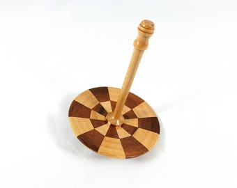 Wooden Spinning Top, Lathe Turned, Segmented