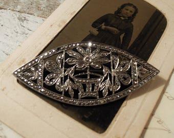 Vintage / Antique Sterling Silver Almond Shaped Brooch / Rhinestone Pin / Sterling Rhinestone Flower Brooch / Openwork