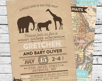 Safari Baby Shower Invitation + Thank you Note