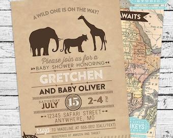 Safari Baby Shower Invitation + Thank you Note