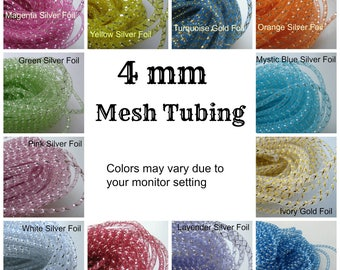 4 mm Mesh Tubing, White, Lavender, Orange, Turquoise, Blue, Pink, Yellow, Apple Green, Red, Magenta, Ivory for Embellishment, 10 yards