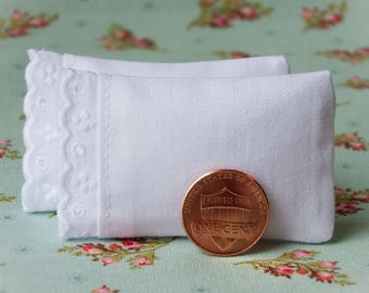 Dollhouse Miniature White Bed Pillows with Scalloped Eyelet Trim, set of 2 - 1:12 scale