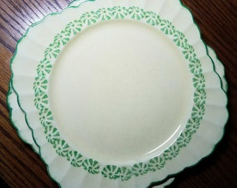 Sebring Pottery Company (2) yellow and green vintage square fluted plates