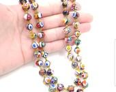 Double Strand Millefiori Glass Bead Necklace, Murano Art Glass Beads, Venetian Glass Bead Necklace, Multi Strand Italian Glass Necklace