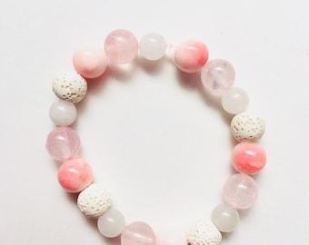 Rose Quartz & White Lava Rock Beaded Bracelet