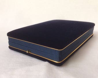Classic Blue Necklace Box Velvet Jewelry Display Case Push button Clasp Vintage