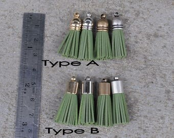 4 Olive Green Mini Cowhide Leather TASSELS in Gold, Silver, Antique Silver or Antique Brass Plated Cap(Type A or B Cap)