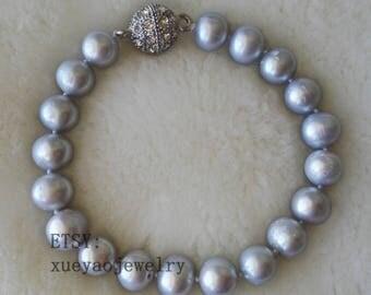 pearl bracelet - 9-10 mm gray freshwater pearl bracelet