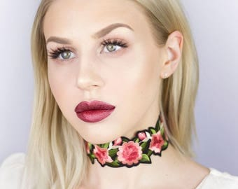 Black with Pink Rose Detail Wide Choker - Necklace