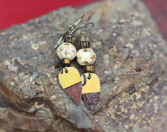 SALE, Handmade Rustic Earrings, Boho Style, Gypsy Style, Bone, Upcycled Tin Earrings, Lightweight, Dangle Earrings, Fall Style