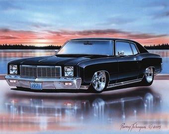 1971 Chevy Monte Carlo SS 454 Muscle Car Art Print Black 11x14