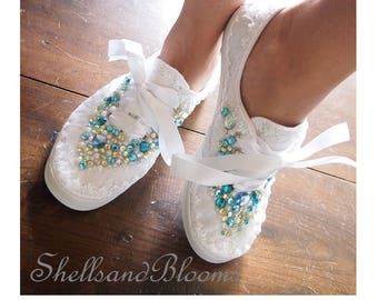 Wedding Bridal Tennis Shoes Sneakers - chic white lace or Ivory cream - Rhinestone Pearls - eyelet trim - Shabby Beach vintage inspired