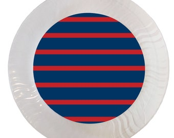 Red and Navy Rugby Stripe Plastic Plates - Set of 12