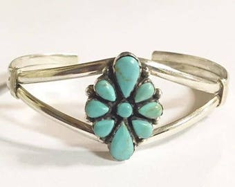 Vintage Sterling Silver with Turquoise Cuff Bracelet