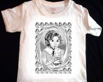 Shirley Temple Swirl Design Toddler / Youth T Shirt - LARGE print - Original Graphite Portrait
