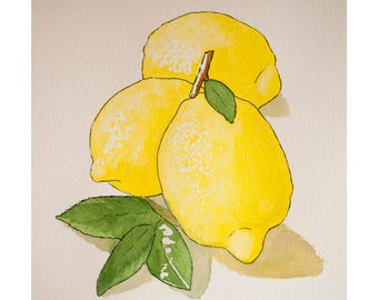 Signed Watercolor Print, Lemons, 8.5x11 inches, Watercolor Painting, Food Sketch, Kitchen Decor, Wall Art, Food art