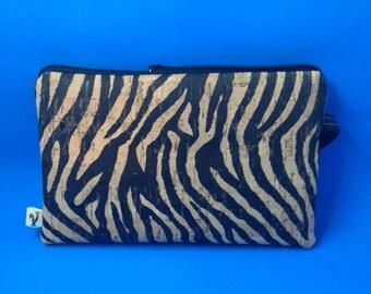 Natural CORK Wristlet - Zebra Pattern - Vegan - Leather Alternative