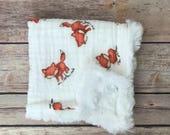 Security Blanket - Fox Baby Blanket - Woodland Nursery - Infant Baby Blanket - Lovey Blanket - Fox Baby Items - Lovie Blanket - Baby Gift