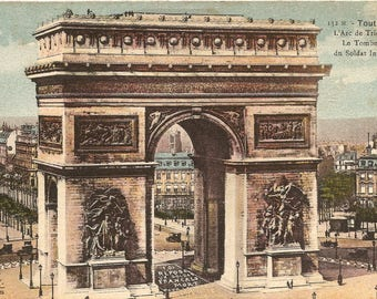 Arc de Triomph Arch of Triumph Antique Vintage French Postcard Paris France from Vintage Paper Attic