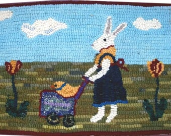 Hooked Rug Bunny Rabbit Strolls Baby Chick