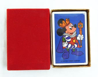 Vintage 1980's Disney Mickey Mouse King Mickey Blue Playing Cards Deck 1