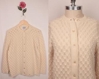 15 DOLLAR SALE // 70s pointelle cardigan // cream