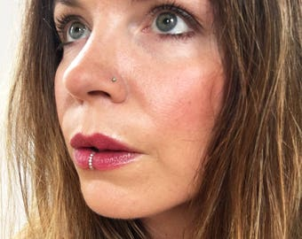 Silver Beaded Faux Lip Ring, Sterling Silver Lip Cuff, Lip Hoop, Fake Lip Ring