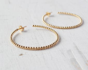 Beaded Gold Hoop Earrings, Minimalist Rose Gold Hoop, Simple Hoop in Gold Filled, Classic Gold Hoops, choose your size