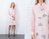 Vintage 70s Pink Shift Dress Mod Sheer Sleeve Floral Print Mandarin 2X 11128