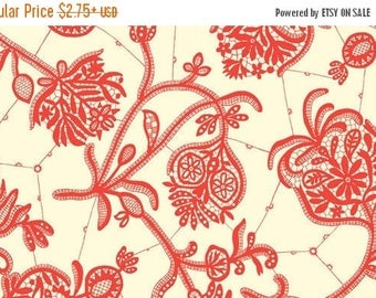 SUMMER SALE Fat Quarter ONLY - Amy Butler Lark Collection Souvenir Ivory Red Floral for Moda