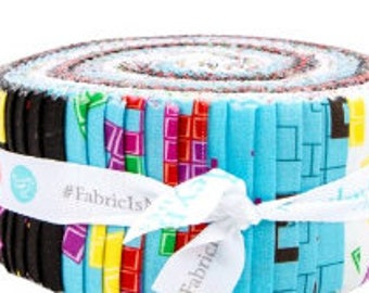 Tetris 2.5 Inch Rolie Polie Jelly Roll from Riley Blake - 40 Pieces