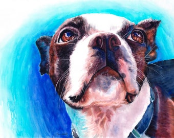 Boston Terrier Watercolor Fine Art Print on Paper, Metal, or Canvas